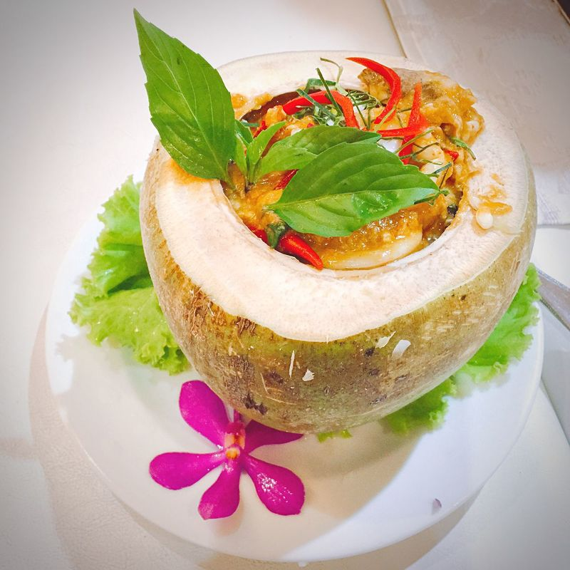 Thai dish in coconut Thaifood Coconut Food Instafood Foodstagram Foodphotography IPhoneography Fooddesign Fooddecoration