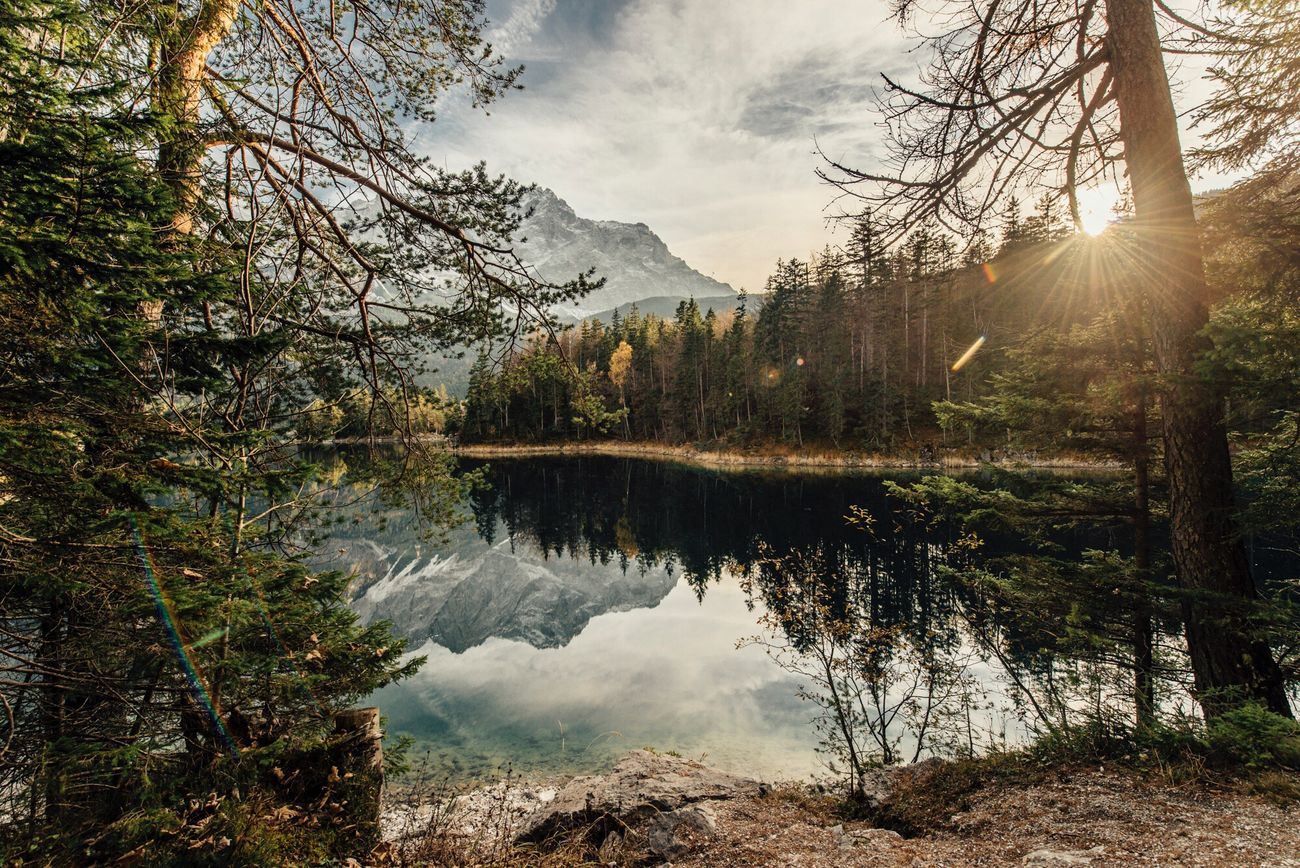 Autumn at Lake Eibsee Lake Lakeview Tree Mountains Alps Germany Water Autumn Fall Herbst Alpen Mountains And Sky Stayandwander Liveauthentic Liveunscripted First Eyeem Photo