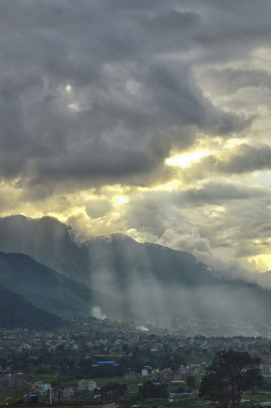 Beauty In Nature Cityscape Cloud Cloud - Sky Kirtipur Landscape Nepal Sky Sunset Town Weather