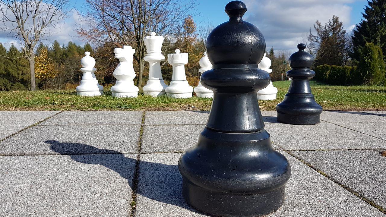 Schachbrett Schach Schachfiguren SCHACHMATT Saxony Black Color Sunlight Shadow Outdoors Day No People