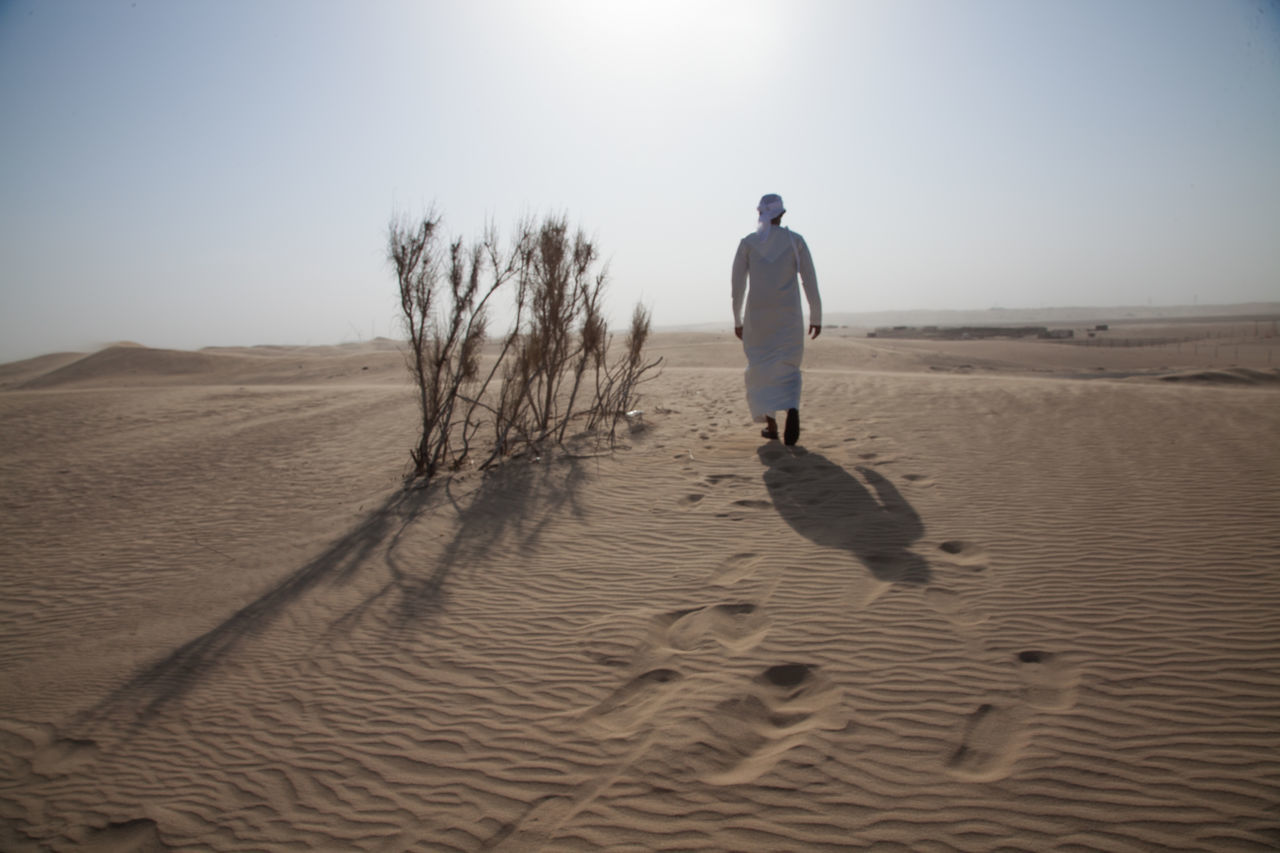 Adult Adults Only Arid Climate Beach Day Desert FootPrint Full Length Landscape Mature Adult Men Nature One Man Only One Person Only Men Outdoors People Rear View Sand Sand Dune Sky Standing Walking