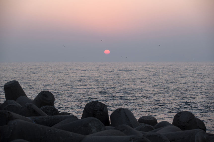 Sunset at Gyeokpo Port in Byeonsan, Jeonbuk, South Korea Beauty In Nature Clear Sky Day Horizon Over Water Nature No People Outdoors Pebble Beach Rock - Object Scenics Sea Sky Sun Sunset Tranquil Scene Tranquility Water