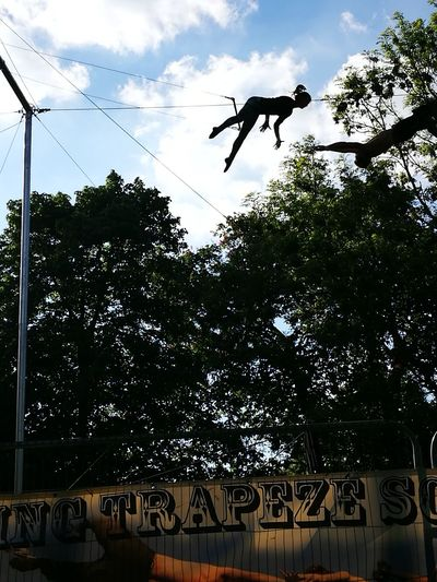 Flying Trapeze Flying Air Suspension Low Angle View Silhouette Regent's Park