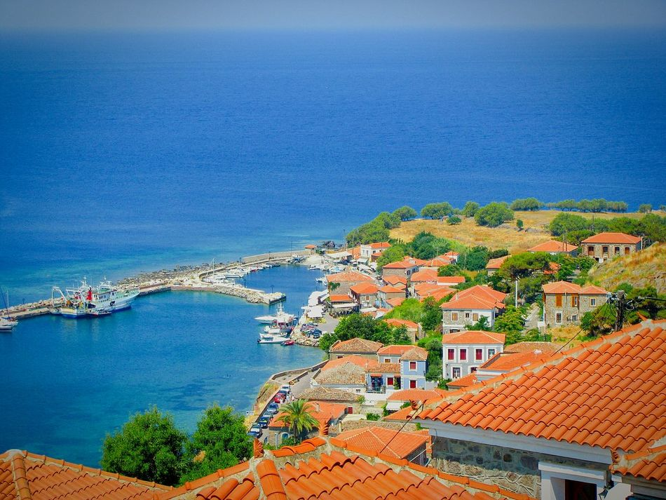 Village Village View Seaside Village Port Small Port Breakwater Houses Roofs Red Roofs The Great Outdoors - 2016 EyeEm Awards Village And Sea Boats Shades Of Blue Blue Sea Molivos Lesvos Island Greek Islands View From The Top View From Above Viewpoint Viewpoints Picturesque Traditional Greek Village