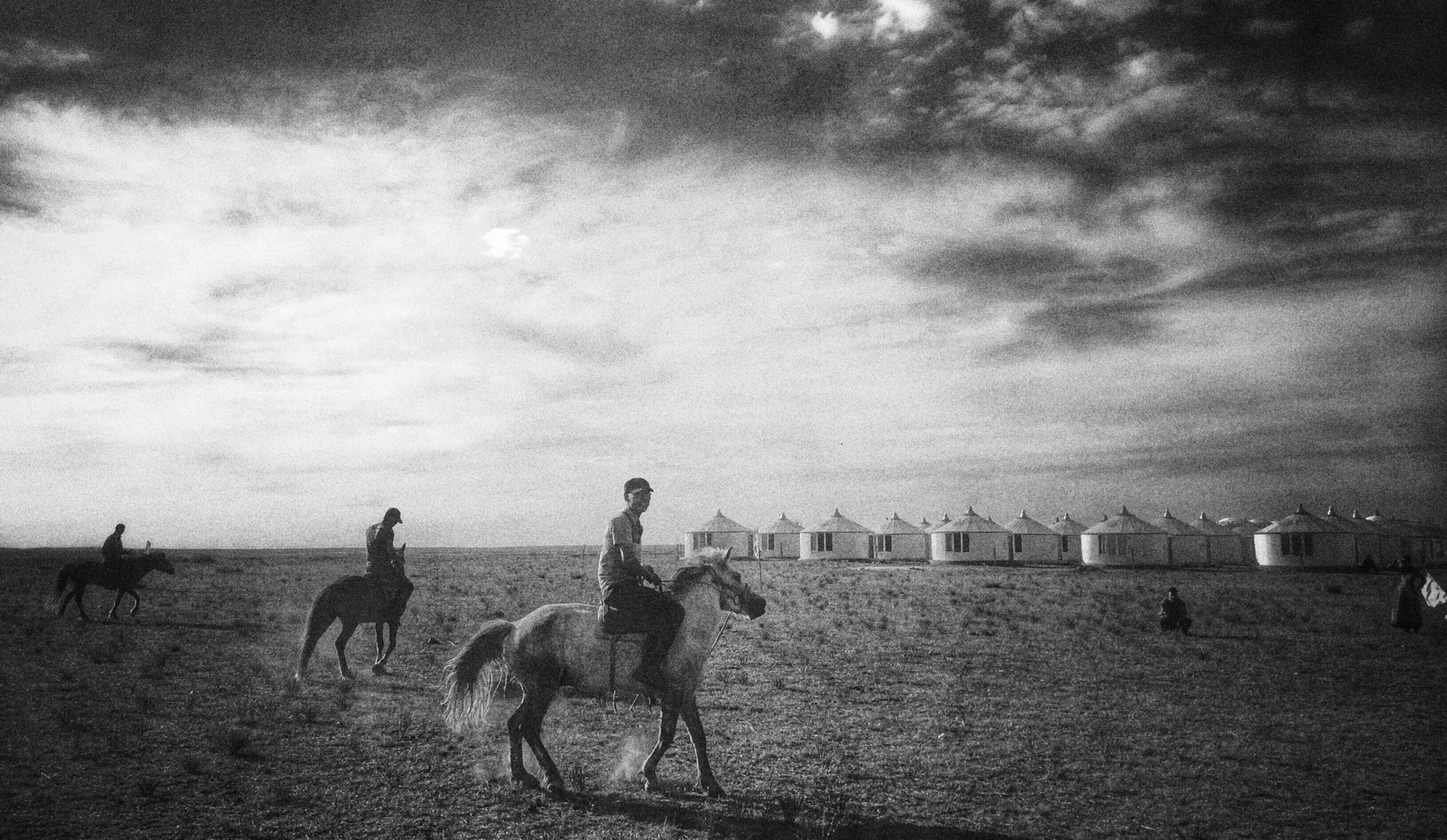 animal themes, sky, men, lifestyles, leisure activity, domestic animals, mammal, cloud - sky, sand, landscape, person, full length, day, outdoors, livestock, togetherness, architecture