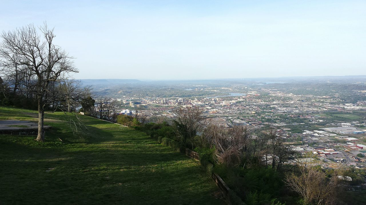 Sky Tree Growth Outdoors Scenics Day Grass No People Beauty In Nature High Angle View City Of Chattanooga Below. Cityscape Aerial View