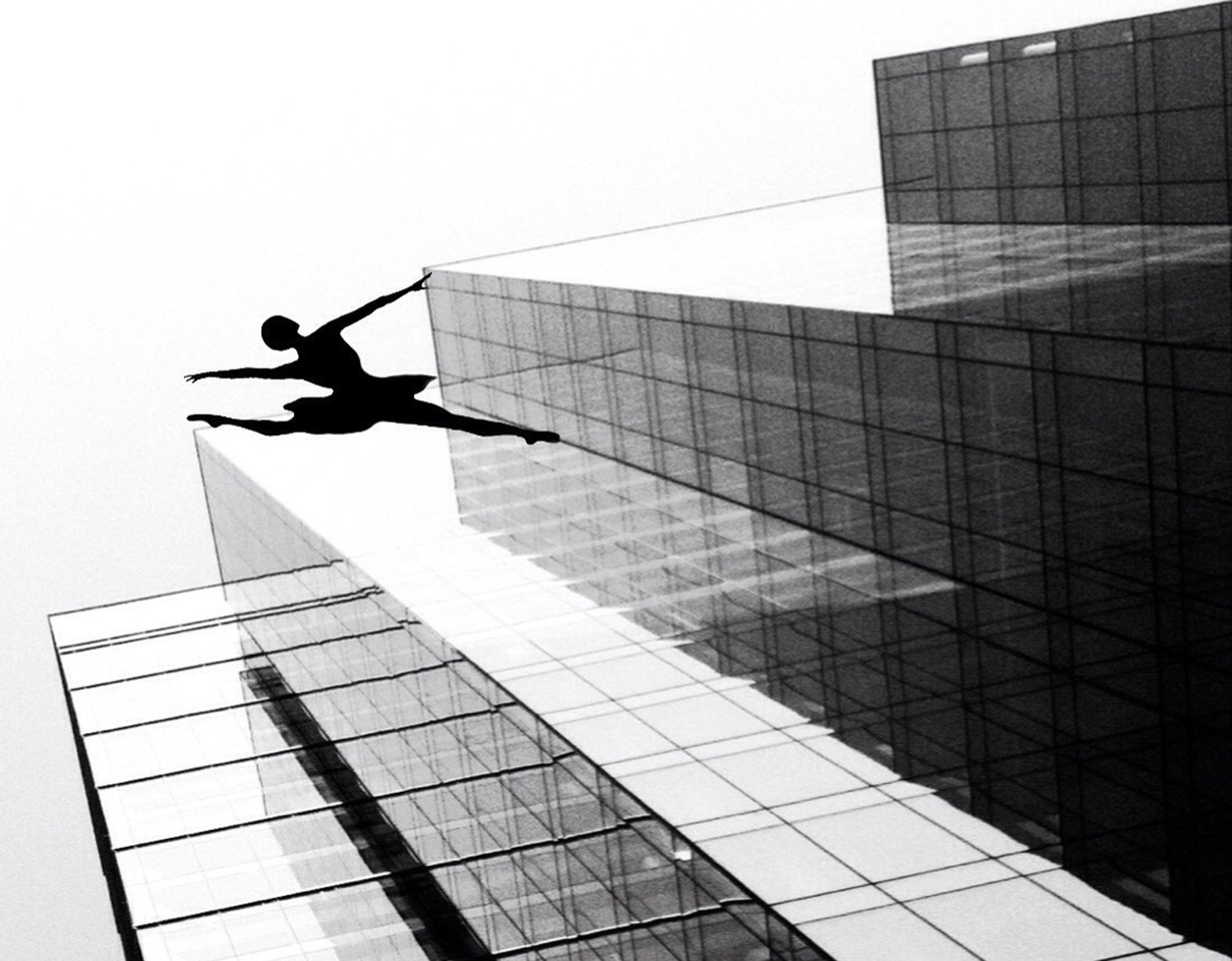 architecture, building exterior, skyscraper, built structure, real people, city, reflection, outdoors, silhouette, men, day, low angle view, one person, modern, full length, tall, risk, clear sky, window washer, sky, people