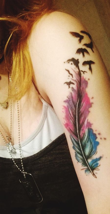 One Woman Only One Person Indoors  Young Adult Close-up Human Body Part One Young Woman Only Day Tattoo Feather Tattoo Colors Pink Color Blue Colour