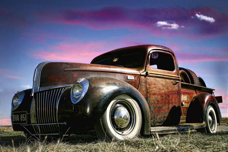ArtWork Automobile Chevy Cloud Cloud - Sky Fender Field Grille Headlight HotRod Mode Of Transport No People Old Outdoors Parked RatRod Rusty Sky Tire Transportation Truck Vintage Car Wheel White Walls