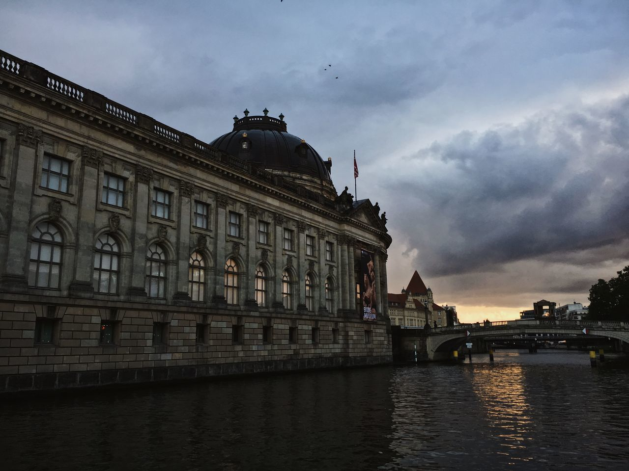 Architecture Berlin Bode Museum City Cloudy Dramatic Sky Historical Building Lowlight Spree Ancient Building Artchitecture Building Exterior Built Structure Cloudy Sunset Dusk Evening Museum Old Buildings River Water Birds