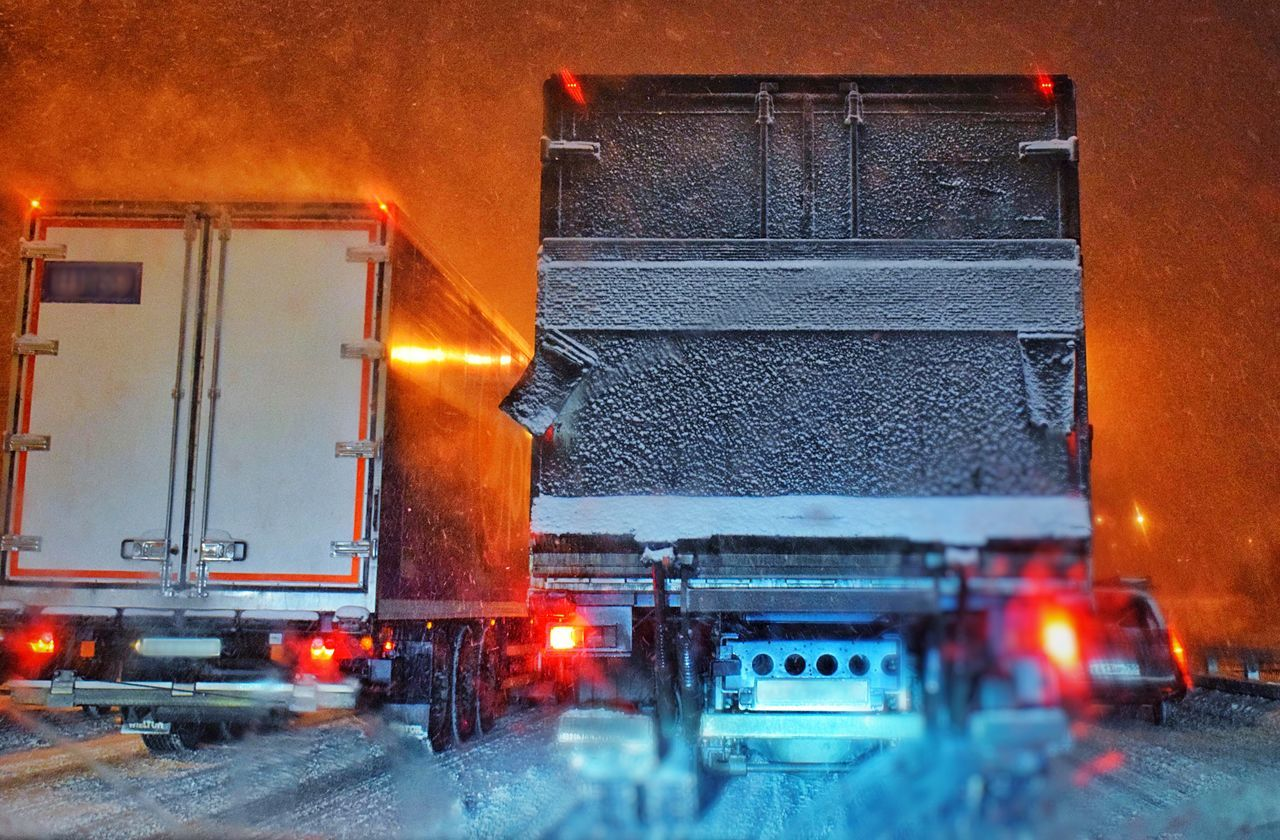 Illuminated Transportation Car Night Land Vehicle Red City Wet Road Building Exterior Outdoors Architecture Winter No People Cold Temperature Snowing Sky Snow Snow ❄ Truck Wintertime Snowfall Trucks Nightphotography Winter