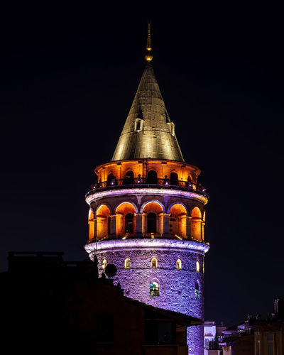Istanbul's Galata Tower, all lit up for evening. Architecture Beyoglu-ıstanbul Beyoğlu Building Exterior Built Structure Cityscape Galata Galata Tower Galata Tower By Night Galata Tower In İstanbul GalataSaray Illuminated Istanbul Night Travling Turkey