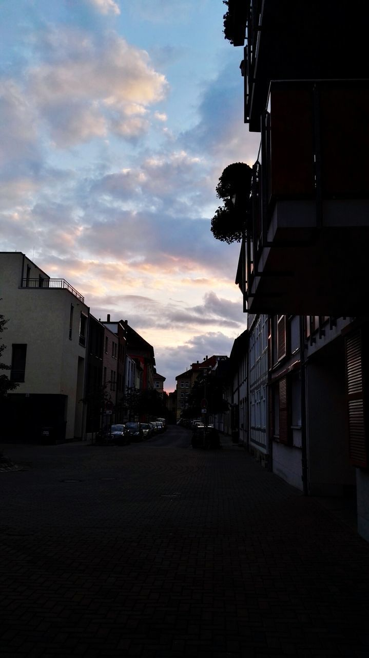 architecture, building exterior, built structure, sky, street, the way forward, sunset, outdoors, no people, city, day