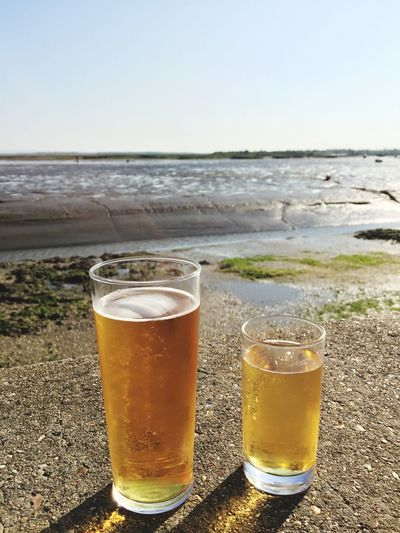 Old Leigh Drink Beer - Alcohol Beer Glass Drinking Glass Alcohol Beach Beer Refreshment Food And Drink Sea Sand No People Frothy Drink Horizon Over Water Outdoors Nature Day Water Clear Sky Beauty In Nature Thames Estuary Tidesout Muddy Sea Wall
