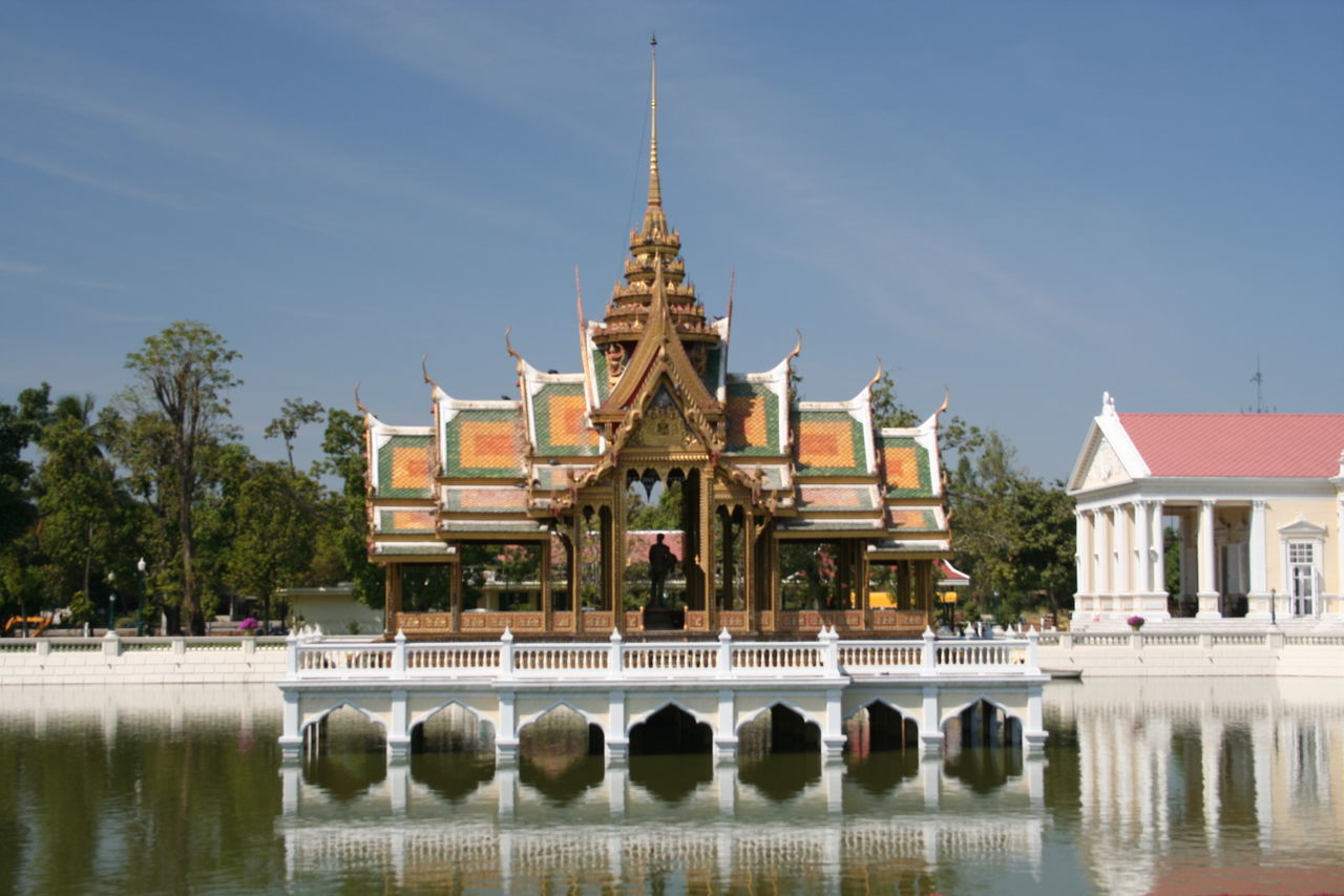 Architecture Bang Pa In Summer Palace Blue Built Structure Day Façade Nature No People Outdoors Sky Thailand Tourism Travel Destinations Tree Water Waterfront