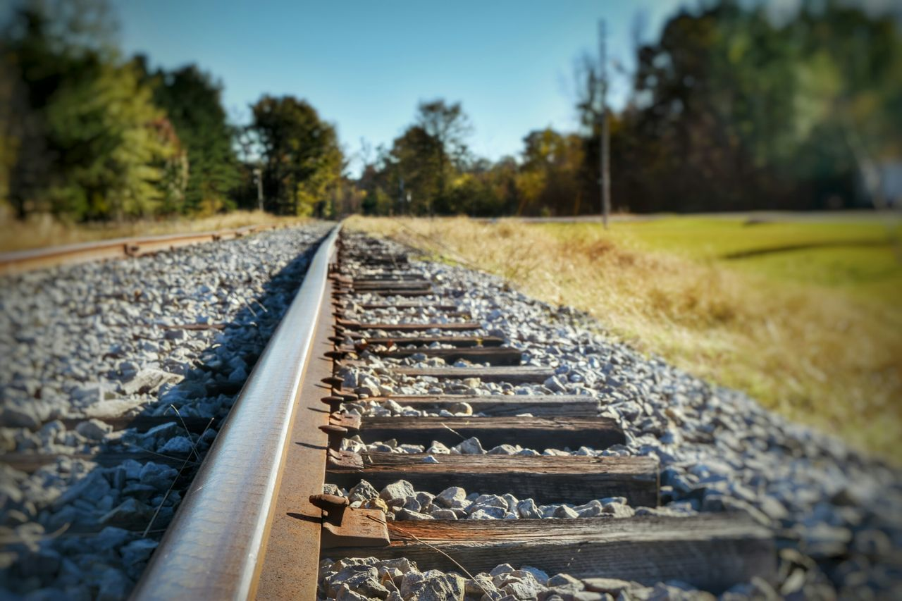 Close-Up Of Railroad Track Against Trees