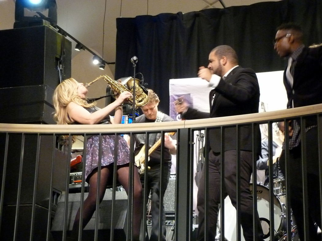 Adult Archival Arts Culture And Entertainment Candy Dulfer Day Friendship Happy Hour Indoors  Mature Adult Mature Men Men Microphone Only Men People Performance Piano Saxophone Singer  Standing TakeoverMusic Togetherness