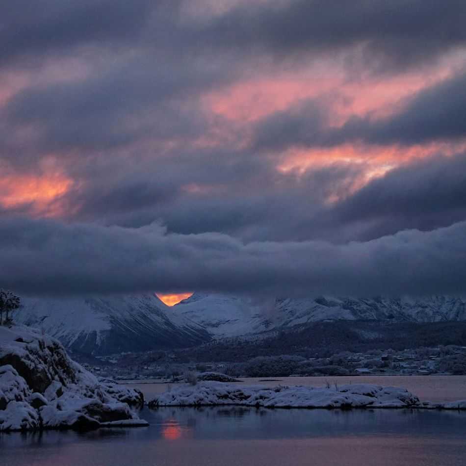 It's really winter ❄ Landscape Winter Clouds And Sky Sea And Sky Eye4photography  Landscape_Collection EyeEm Best Shots Open Edit Nature Seaside Sunrise Mountains It's Cold Outside Norway