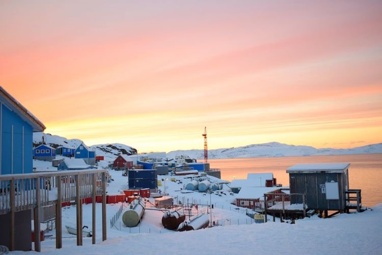 EyeEm Selects Greenland Innaarsuit Snow Sunset Beautiful Nature Sea Mountains Clouds Colours