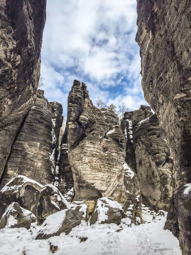 Beauty In Nature Geology Low Angle View Mountain Nature No People Non-urban Scene Outdoors Remote Rock Formation Rocky Mountains Scenics Sky Snowymountain Tranquil Scene Tranquility České Švýcarsko IPhoneography