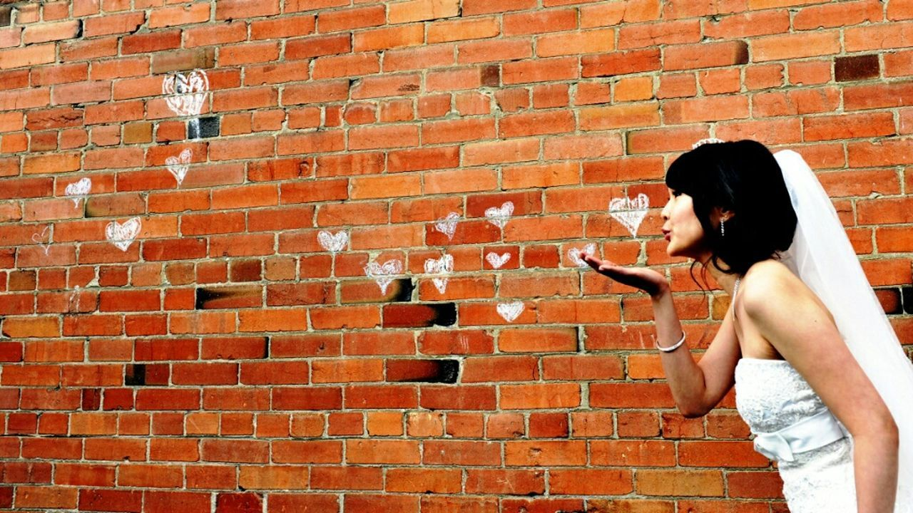 Love Is In The Air Wedding Photography Hearts Wall Art Beauty Bride Kiss Forced Perspective