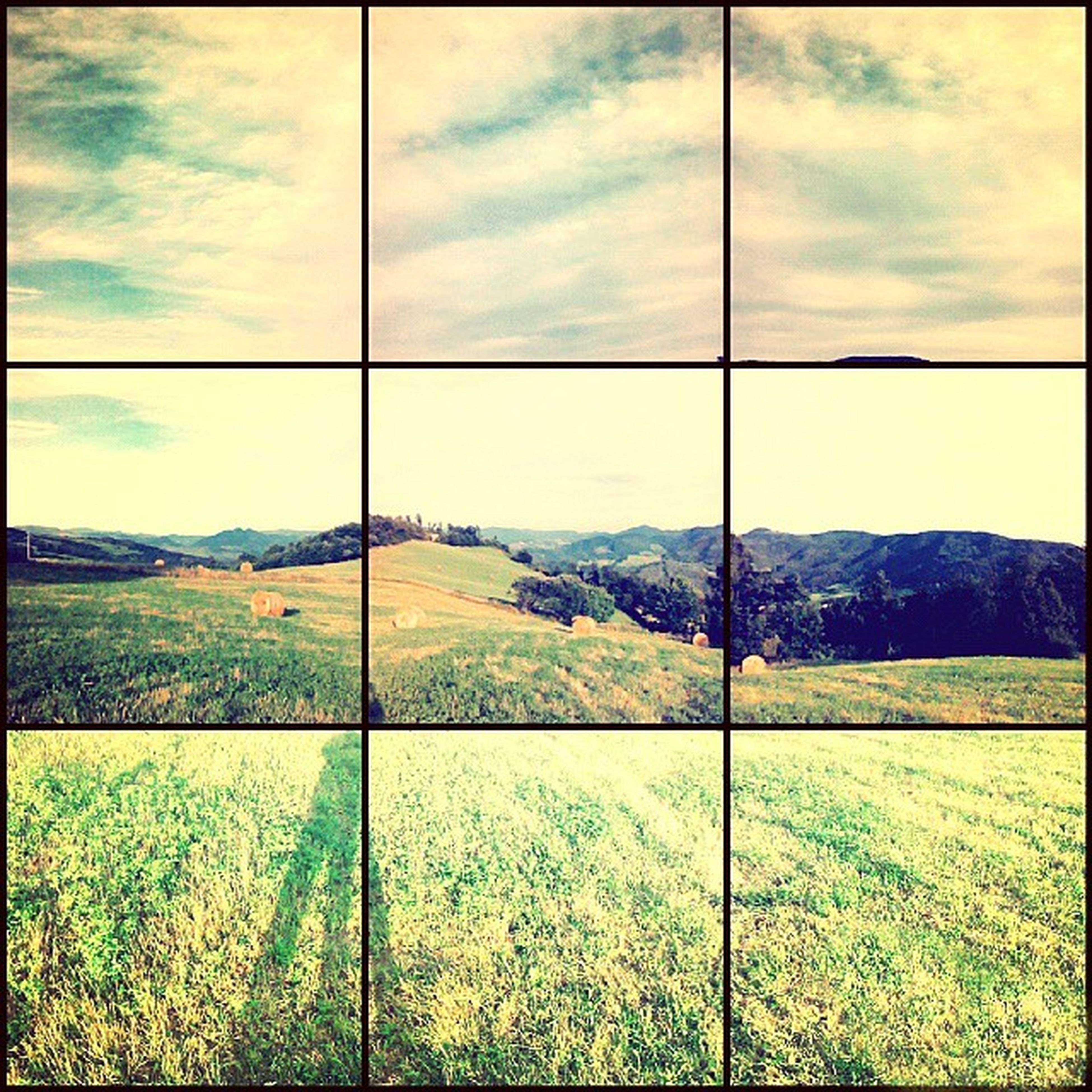 landscape, sky, mountain, tranquil scene, tranquility, grass, scenics, field, beauty in nature, cloud, cloud - sky, nature, transfer print, green color, mountain range, non-urban scene, rural scene, countryside, grassy, horizon over land