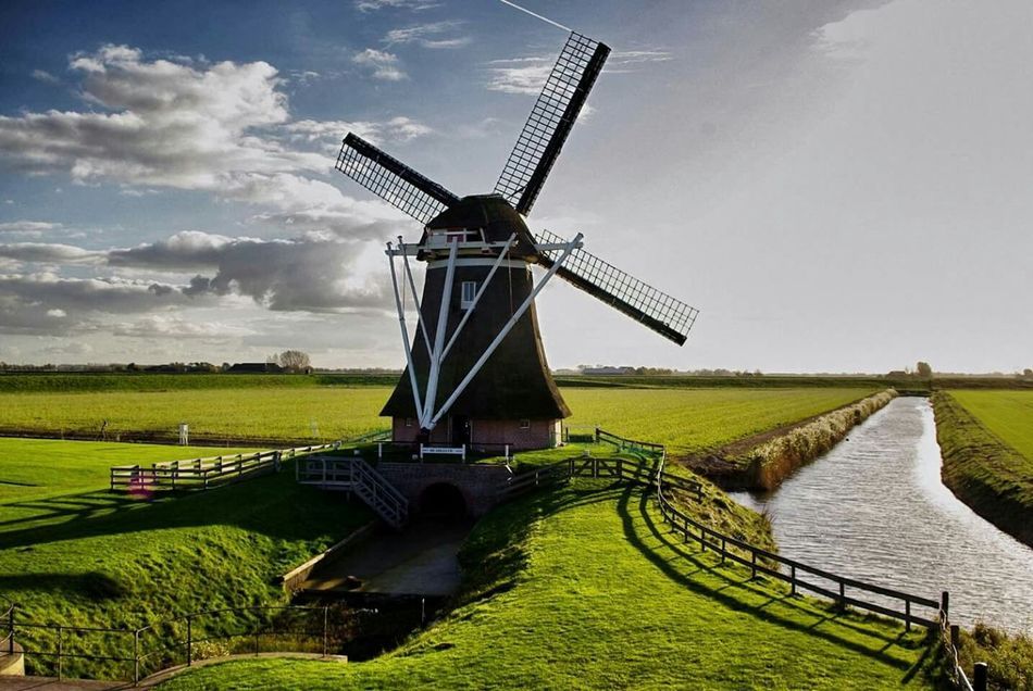 Dutch Landscape Windmill Windmills, Landscape_photography, Eemshaven Groningen Netherlands