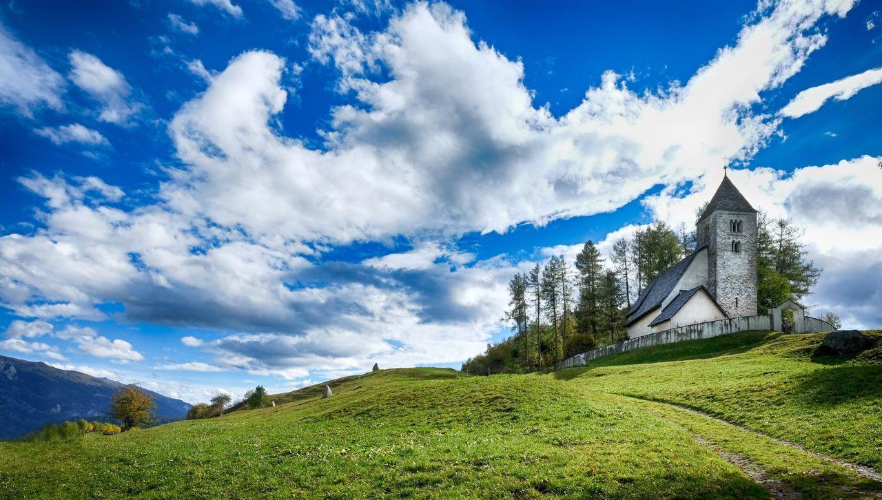 Pastoral Green Grass Church Swiss Landscape Scenery