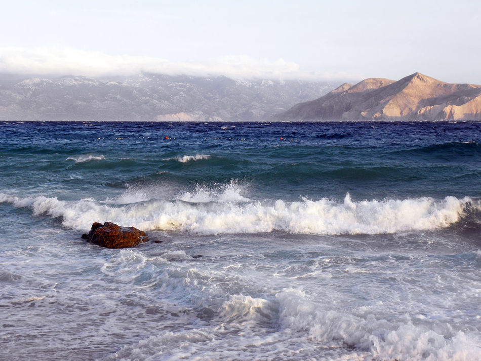 Baska,island Krk,storm arriving,Adriatic coast,Croatia,Europe,11 Adriatic Coast Baska Beaches Beauty In Nature Croatia Day Europe Holidays Horizon Over Water Krk  Mountain Nature No People Outdoors Rocks Scenics Sea Sea Seascape Season  Summer Tranquility Vacations Water Waves