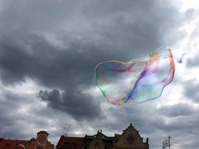 Soap Bubbles Rynek Soap Bubble Wroclaw Wroclaw, Poland Breslau Colorful Cloudy Skies On The Way