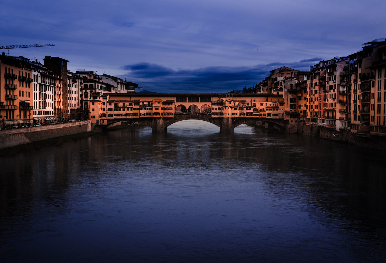 Bridge - Man Made Structure Reflection Water City Night Travel Destinations River Architecture Waterfront Ponte Vecchio Florence Italy Vacations No People Sky EyeEm Best Edits Eye4photography  Europe Colors EyeEm EyeEm Best Shots EyeEm Gallery Cloud - Sky Outdoors Purple