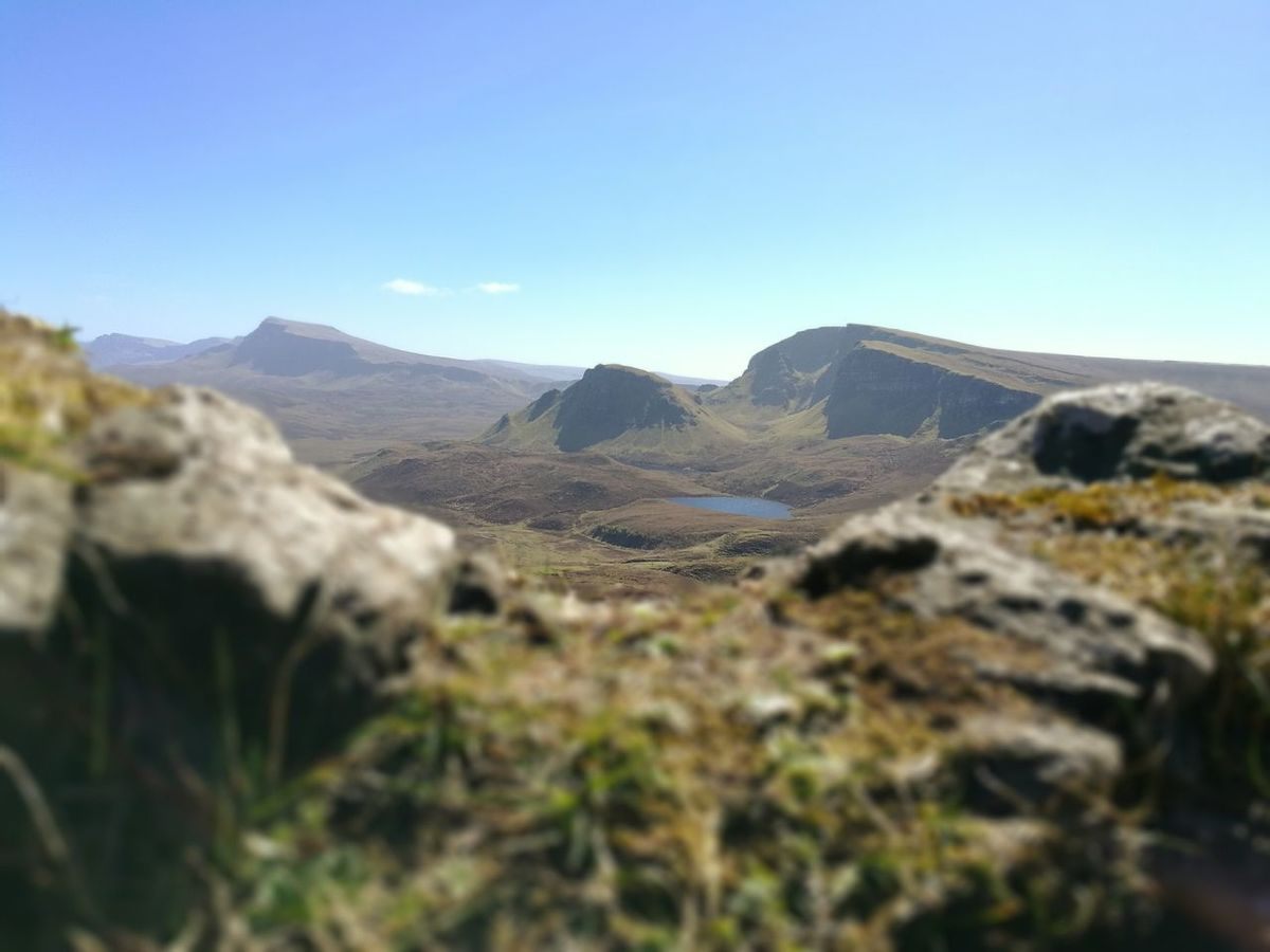 Isle Of Skye Scotland Quiraing Mountain Range Pools  Nature Clear Sky Outdoors HuaweiP9 Huaweiphotography