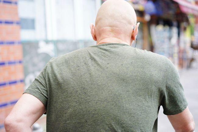 Rear View Tshirt Grey Old Man Bald Head