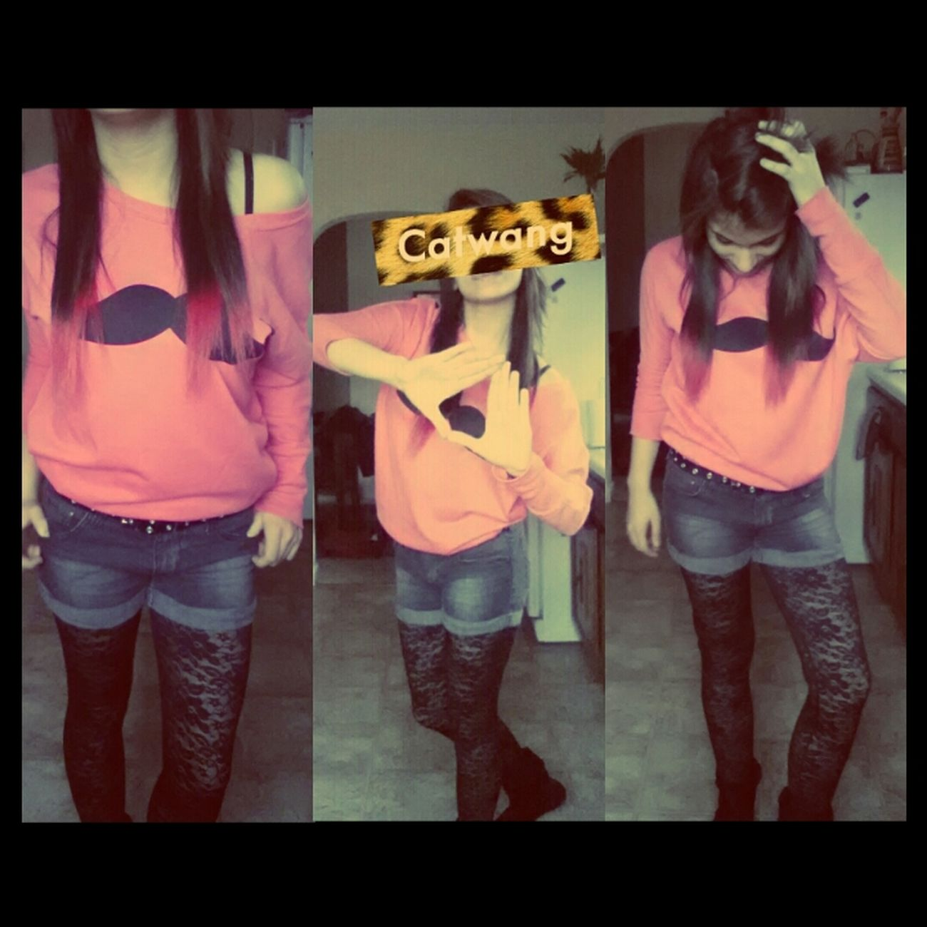 my outfit today ;* ♥ Pink Mustache FUCK YOU Outfit Dip Dye Hair CATWANG Tumblr Status