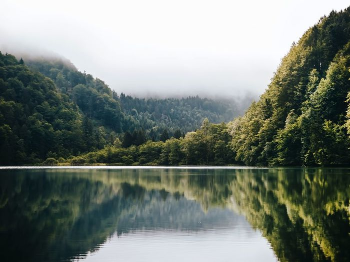 Beauty In Nature Countryside Day Distant Forest Geometry Horizontal Symmetry Lake Landscape Majestic Mountain Mountain Range Nature Outdoors Remote River Scenics Symmetry Tranquil Scene Tranquility Water