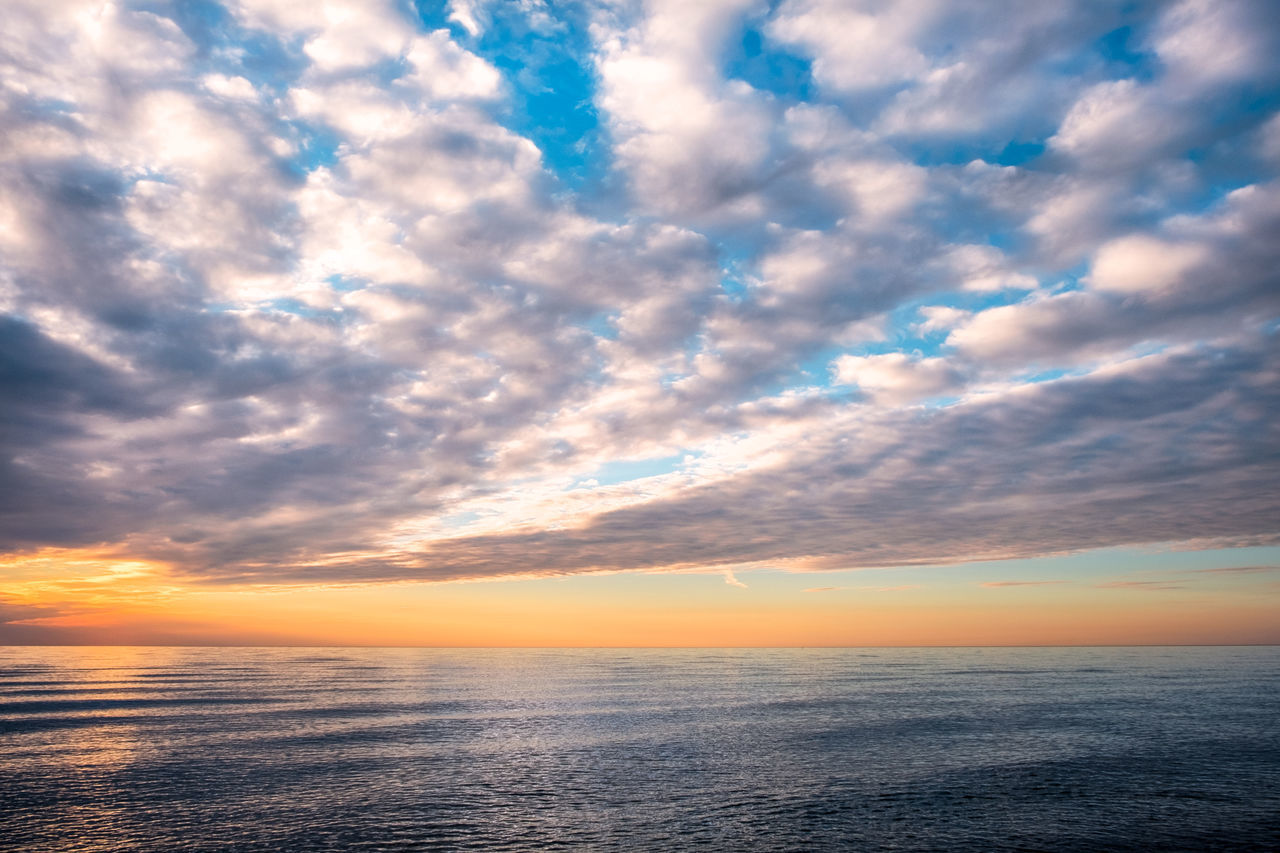 Baltic Sea Beauty In Nature Blue Cloud - Sky Cloudscape Copy Space Dusk Horizon Over Water Idyllic Nature No People Orange Color Outdoors Reflection Rippled Water Scenics Sea Sky Sunset Tranquil Scene Tranquility Water Waterfront