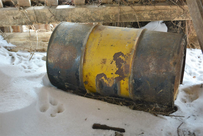 Useful at One Time Bad Condition Barn Barrel Close-up Damaged Day Deterioration Dirty Drum Empty Factory Farm Garbage Metal Metal Barrel Metal Drum No People Old Outdoors Run-down Rust Rusty Snow Used Yellow