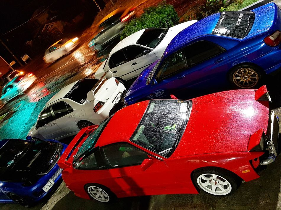 The Crew Winskeyandfriends Cars Antigua And Barbuda Gas Station Subaru STI Bugeye Hatchback Nissan 180sx Schassis Mitsubishi Evolution 9 Toyota Corolla Jdm