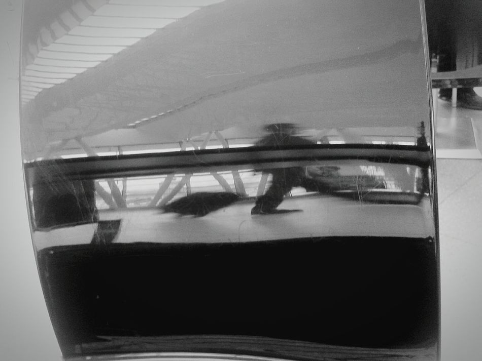 Budapest, Hungary People Airport Black & White Reflections Traveller In The Terminal