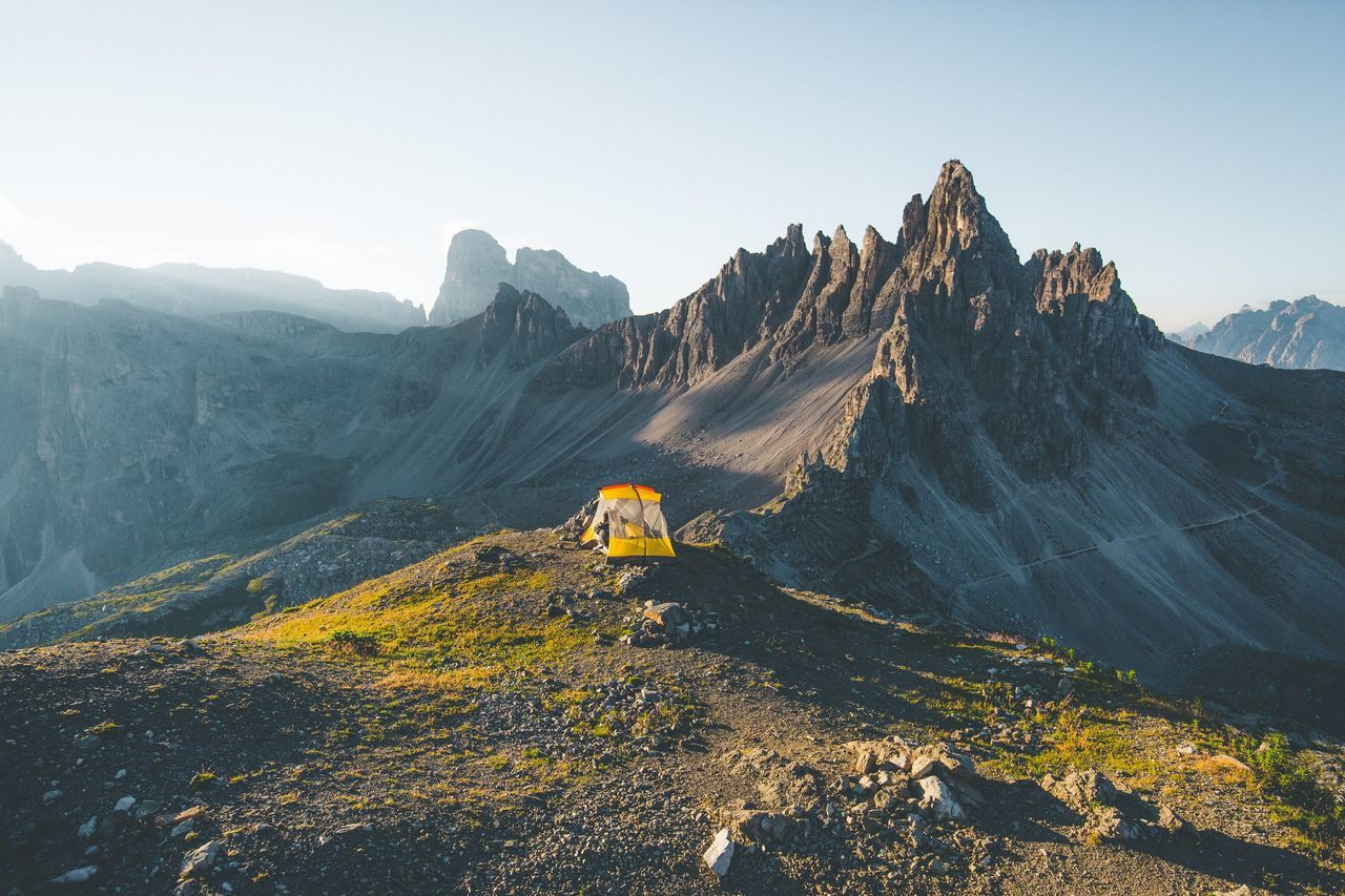 Camping with a view. Dolomites Mountain Autumn Mountain Range Landscape Nature Outdoors Mountain Peak Sky Day No People Natural Parkland