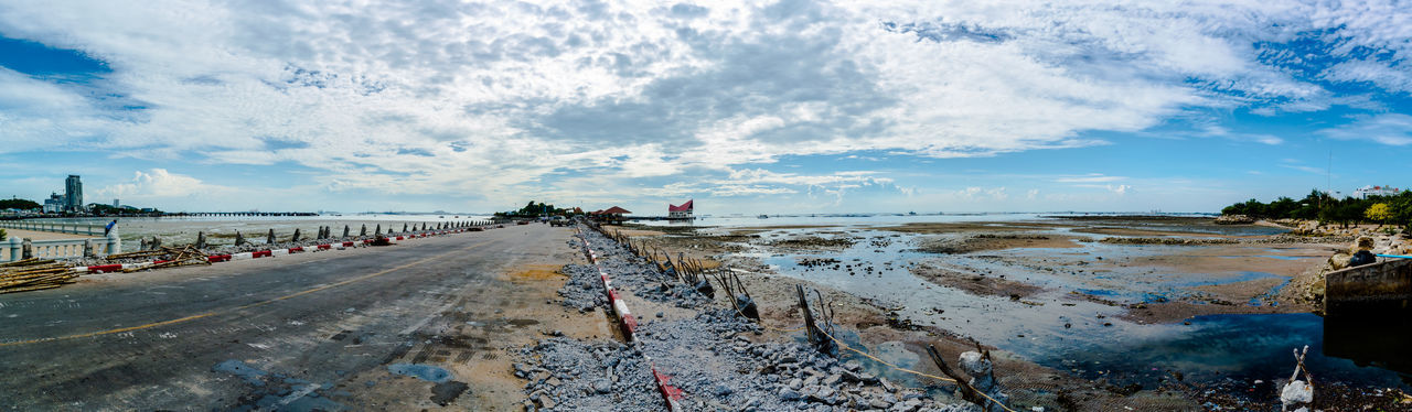 Panoramic view of bridge (Renovation) Beach Bridge - Man Made Structure Cloud - Sky Damaged Day Island Jetty Low Tide Motorcycle Racing Outdoors Panorama Panorama View Panoramic Landscape Panoramic Photography Panoramic View People Renovation Road Sand Sea Sky Sky And Clouds