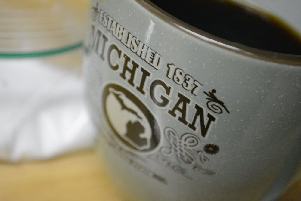 Michigan Coffee 1837 Black Coffee Close-up Coffee Hot Drink Michigan Mug Selective Focus My Favorite Breakfast Moment Blue Sugar Plain Up Close Breakfast Awakening Just Waking Up Pour Cup Speckled White Spots My Mug Selective Focusing Selectivefocus Drink Drinking