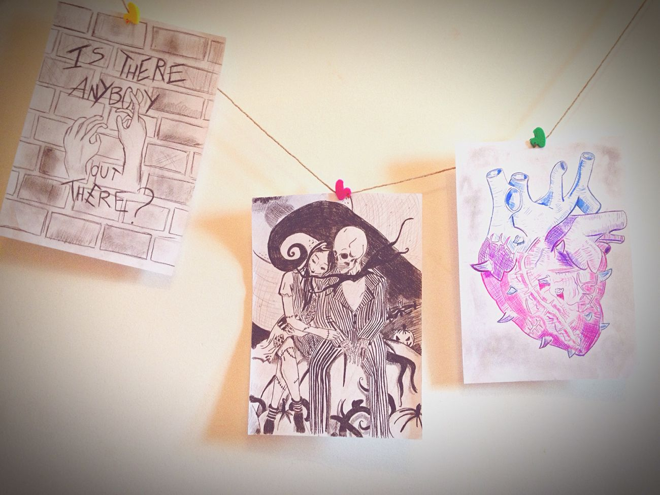 Taking Photos Vintage Drawing Draw Mybedroom Mywall Picture TheNightmareBeforeChristmas Heart Shadows On The Wall