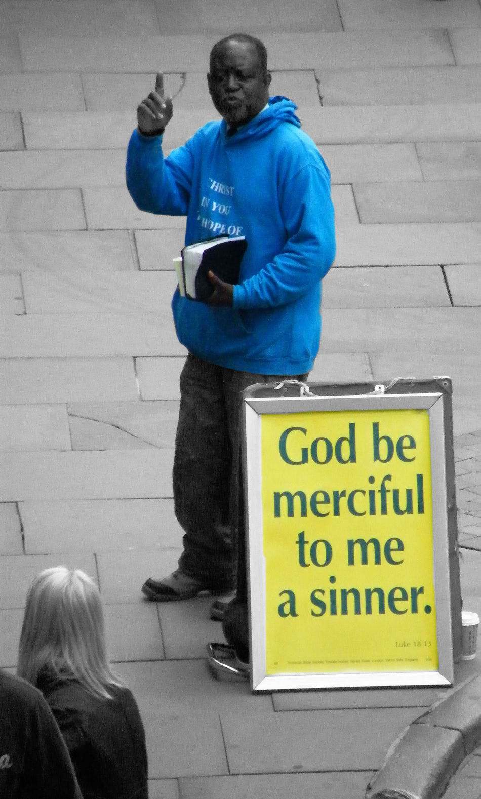 Blue Blue Hoodie Man Missionary On The Street Religion Street Preacher Street Scene Up Close Street Photography Being Human The Human Condition Faith Hopeful