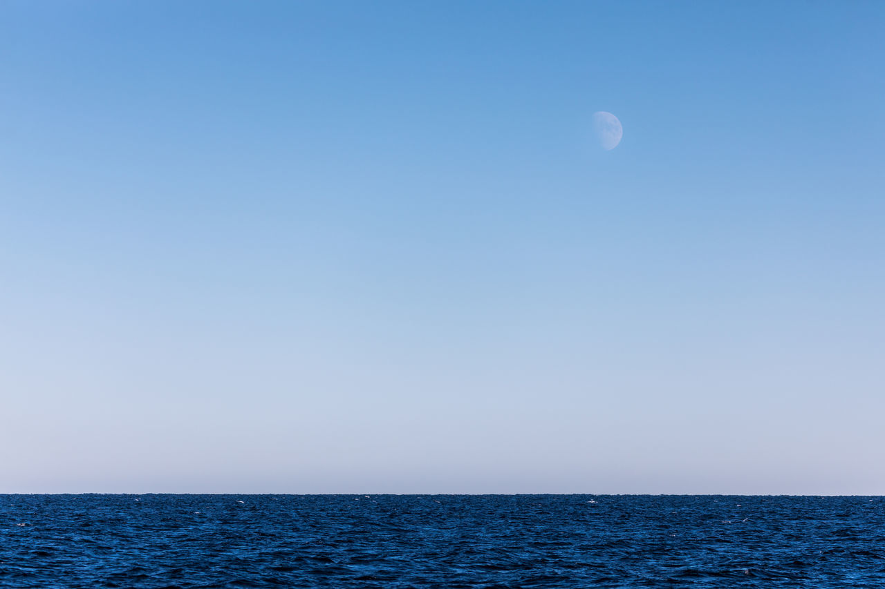 Astronomy Beauty In Nature Blue Clear Sky Clear Sky Copy Space Day Horizon Horizon Over Water Landscape Moon Nature No People Norway Ocean Ocean View Outdoors Scenics Sea Sky Tranquil Scene Tranquility Vesterålen Water Winter