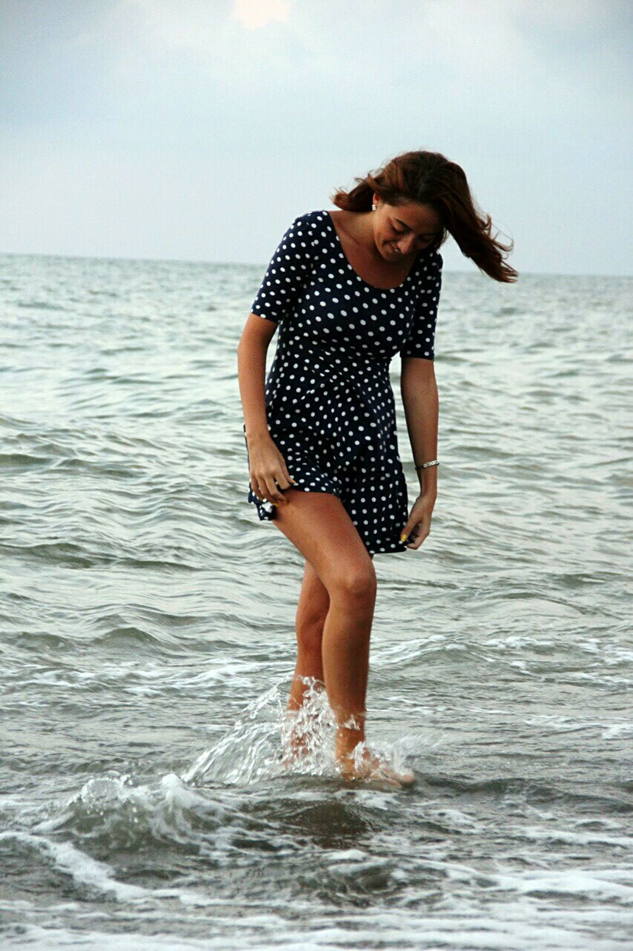 Sea Fun Beach Summer Motion Vacations One Person Water Travel Enjoyment Nature Beautiful People Young Adult Outdoors Beauty Day Black Sea Sea Waves Wind Windblown Hair Short Dress Wetlegs Fillings Filling The Nature Yellownails