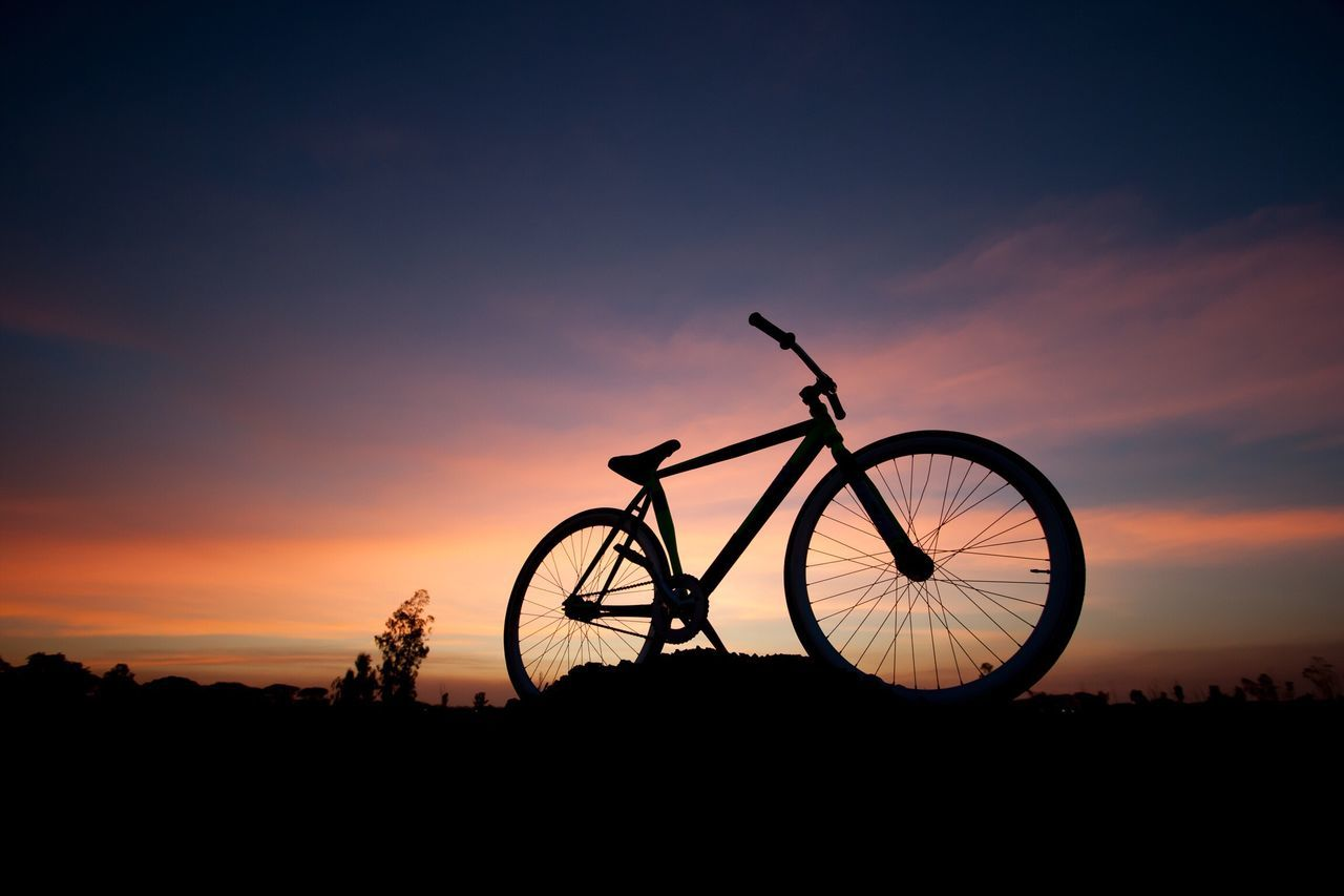 Silhouette Bicycle Sunset Transportation Mode Of Transport Sky Land Vehicle Nature Outdoors No People