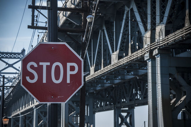 Action Architecture Benjamin Franklin Bridge  Bridge Day Lines Low Angle View No People Outdoors Philadelphia Rail S Sign Stop Sign Text Transportation Urban