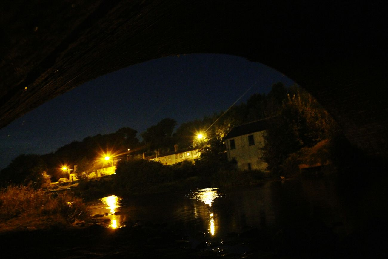Under The Bridge Nightphotography Practising Shots Water Reflections Lights On The Wather By The River Waterscape