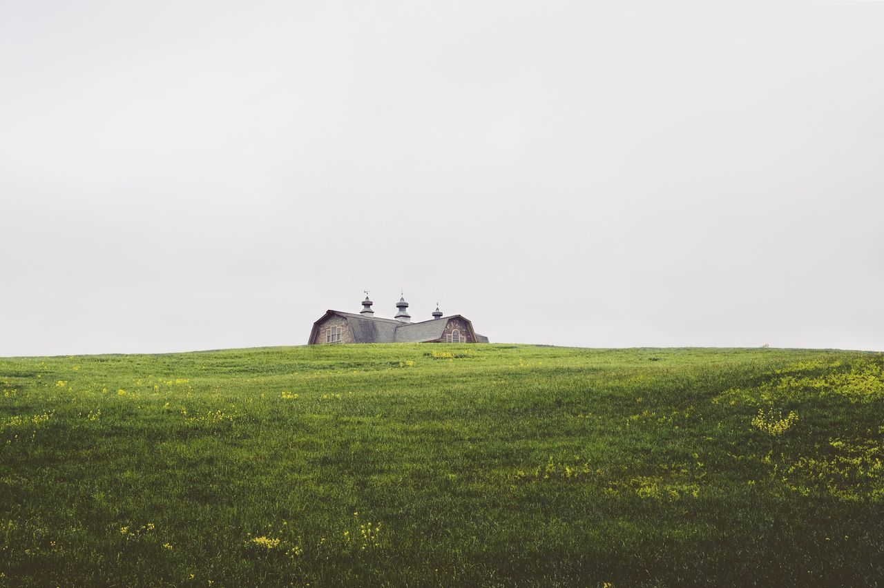 Tiny House? Grass Field Landscape History Nature No People Outdoors Architecture Clear Sky Overcast Hill Fujifilm_xseries Fujifilm Minimalism Simplicity Rooftop The Great Outdoors - 2017 EyeEm Awards BYOPaper! Perspectives On Nature